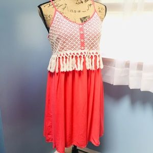 Entro Boho Coral Dress with Eyelet and Tassels